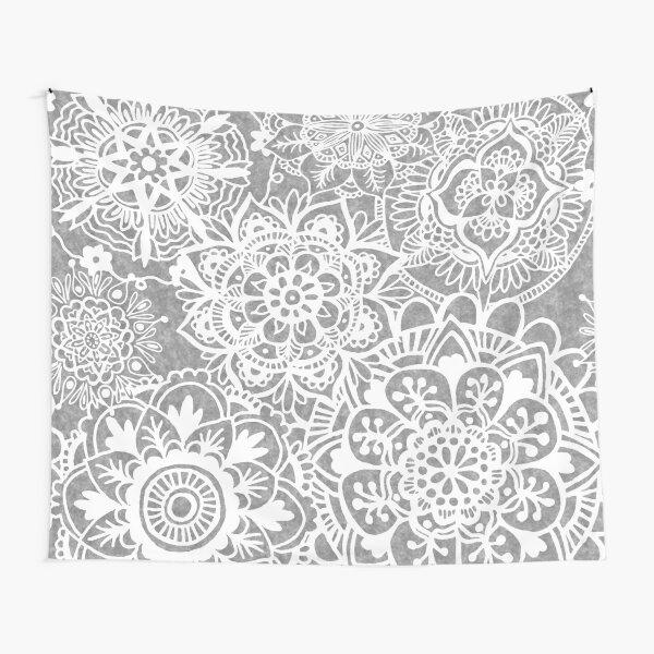 Soft Grey Mandala Pattern Tapestry