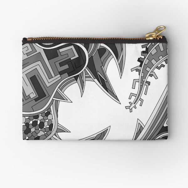 Wandering Abstract Line Art 39: Grayscale Zipper Pouch