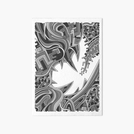Wandering Abstract Line Art 39: Grayscale Art Board Print