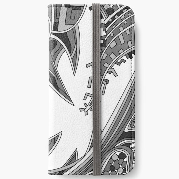 Wandering Abstract Line Art 39: Grayscale iPhone Wallet