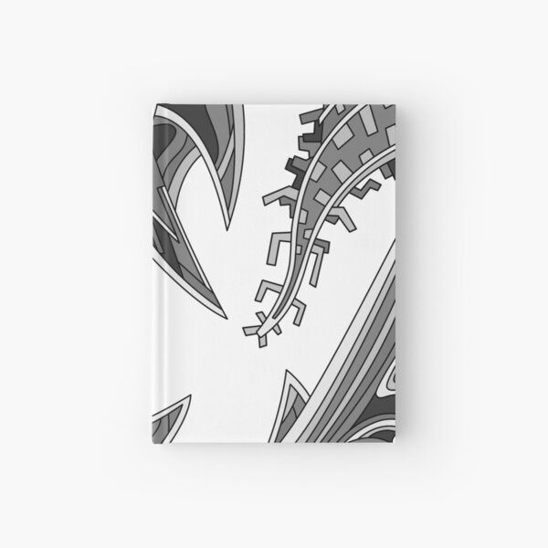 Wandering Abstract Line Art 39: Grayscale Hardcover Journal