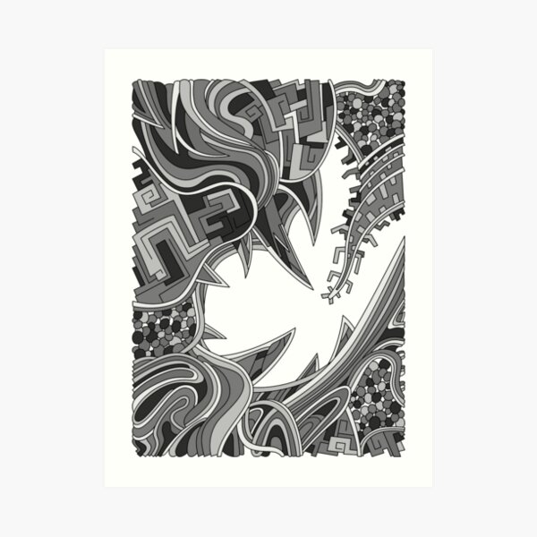 Wandering Abstract Line Art 39: Grayscale Art Print