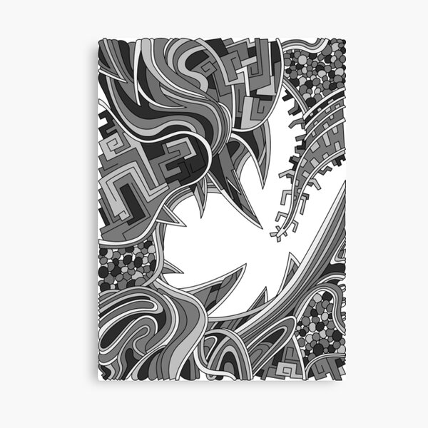 Wandering Abstract Line Art 39: Grayscale Canvas Print