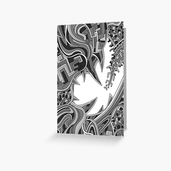 Wandering Abstract Line Art 39: Grayscale Greeting Card