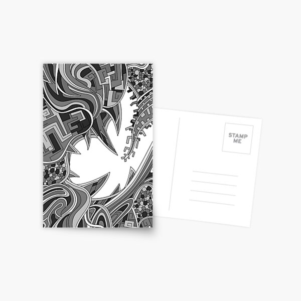 Wandering Abstract Line Art 39: Grayscale Postcard