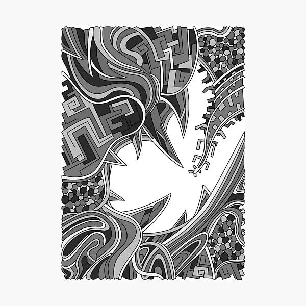 Wandering Abstract Line Art 39: Grayscale Photographic Print