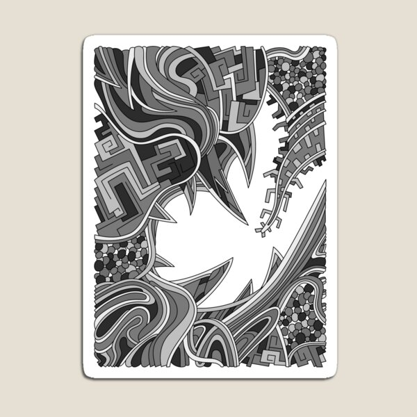 Wandering Abstract Line Art 39: Grayscale Magnet