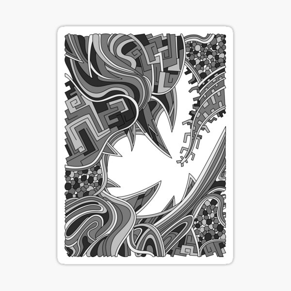 Wandering Abstract Line Art 39: Grayscale Sticker
