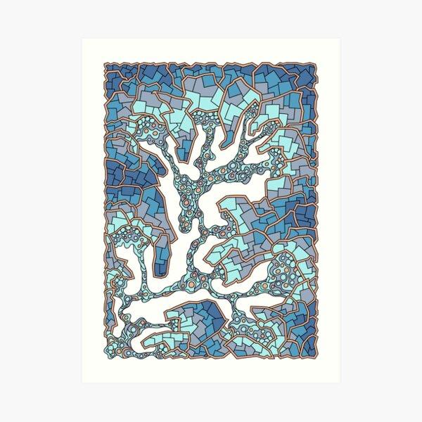 Wandering Abstract Line Art 40: Blue Art Print