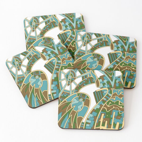 Wandering Abstract Line Art 42: Green Coasters (Set of 4)