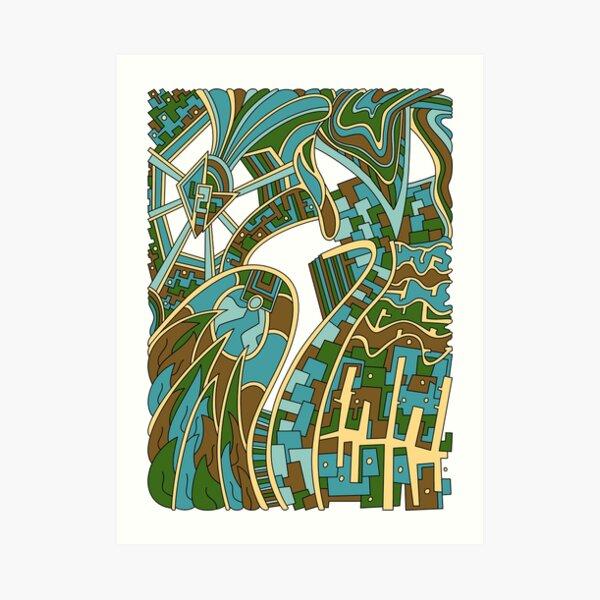 Wandering Abstract Line Art 42: Green Art Print