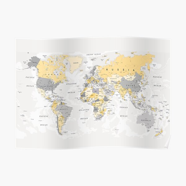 Map of the World Yellow and Grey Poster