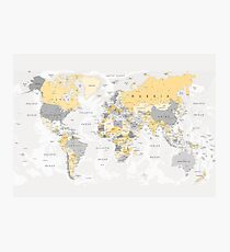 Map of the World Yellow and Grey Photographic Print