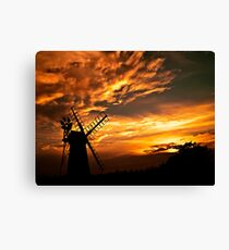 Turf Fen Windmill at Sunset (How Hill) Canvas Print