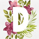 Letter D in watercolor flowers and leaves. Floral monogram. by helga-wigandt