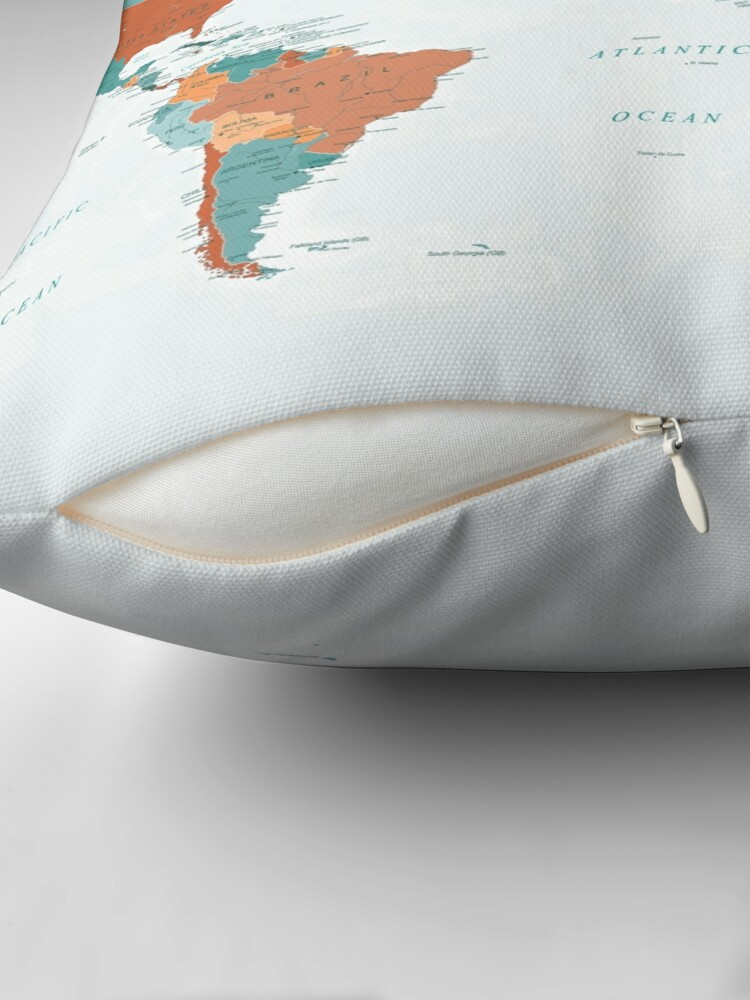 Alternate view of Map of the World in Burnt Orange and Teal Throw Pillow