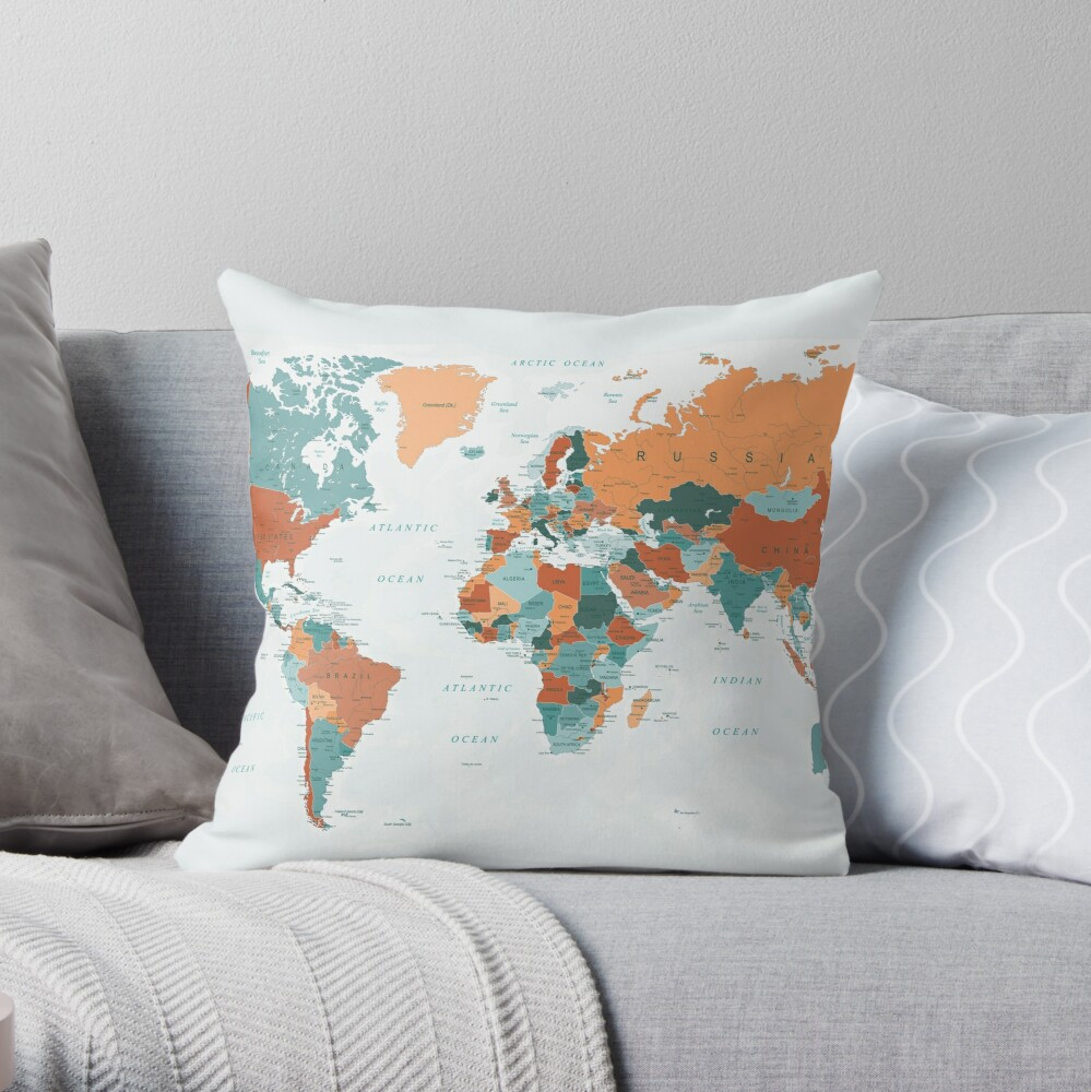Map of the World in Burnt Orange and Teal Throw Pillow