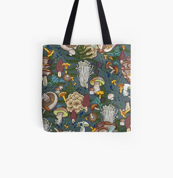mushroom forest All Over Print Tote Bag