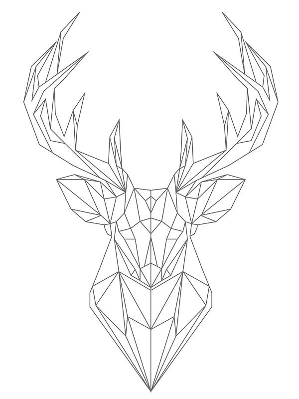 """""""Geometric Buck Deer head"""" Stickers by hellomalcolm ..."""