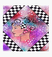 Whimiscal Girl with Checkerboard Border Photographic Print
