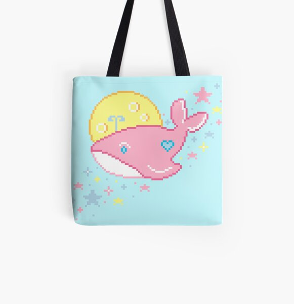 Space Whale in Pink All Over Print Tote Bag