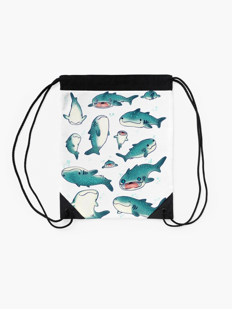 Alternate view of whale sharks! Drawstring Bag
