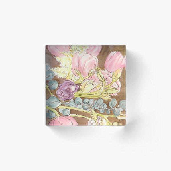 Tulips Eucalyptus Roses Acrylic Block