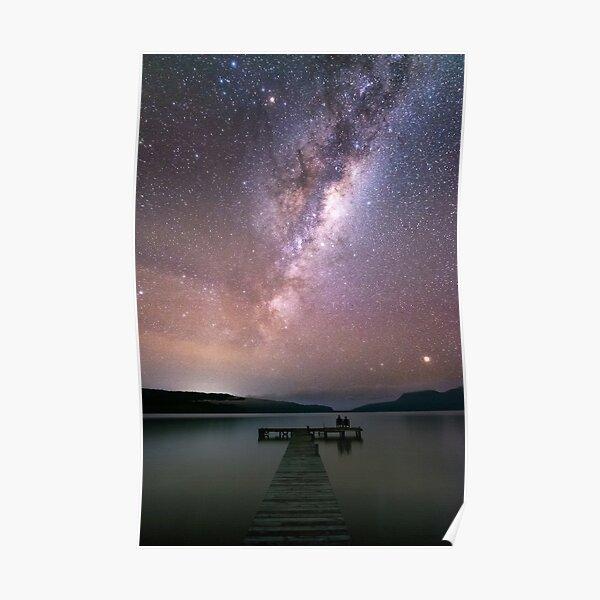 Milky way and jetty in Lake Tarawera, Rotorua Poster