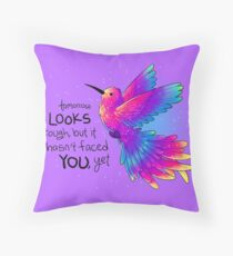 """Tomorrow LOOKS rough, but it hasn't faced YOU, yet"" Rainbow Hummingbird Floor Pillow"