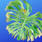 TROPICAL FROND - GREEN LEAF, BLUE SKY - ORIGINAL WATERCOLOR PAINTING OF PALM TREE LEAF by VegShop