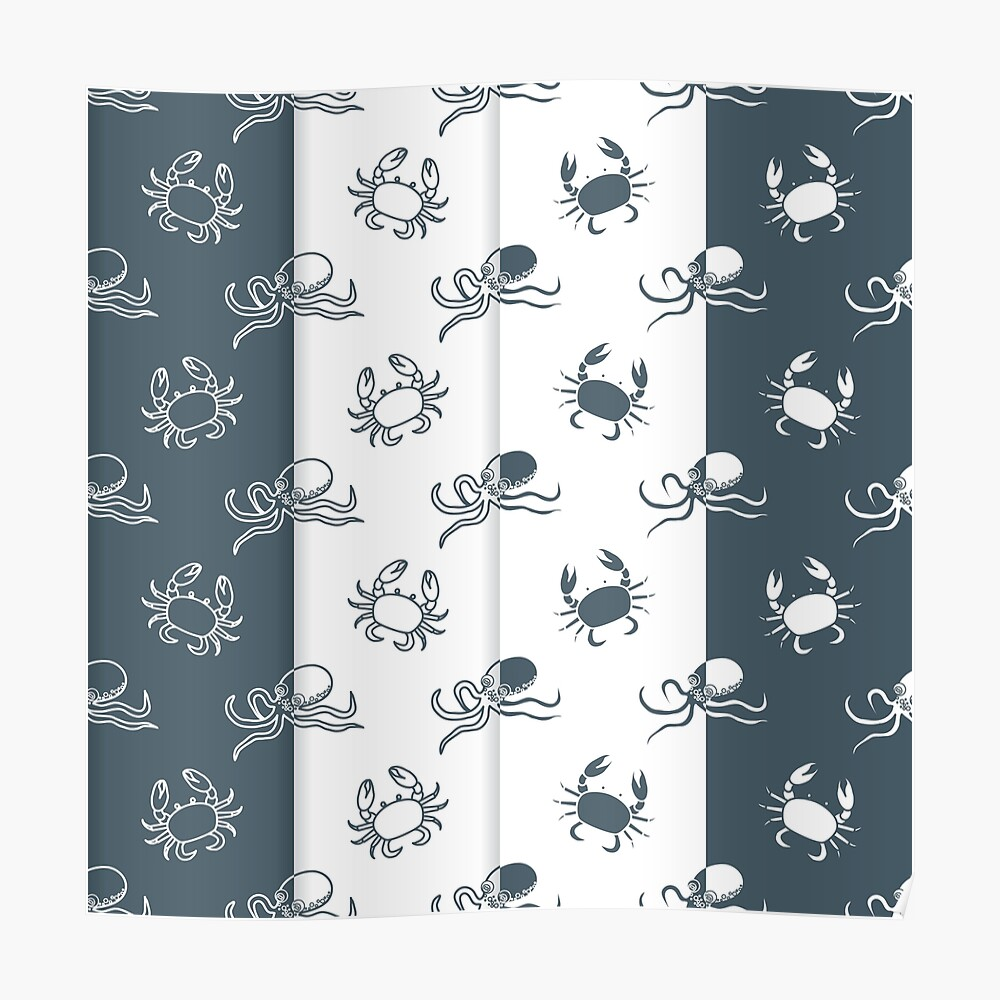Set of 4 seamless pattern. Octopuses and crabs. Póster