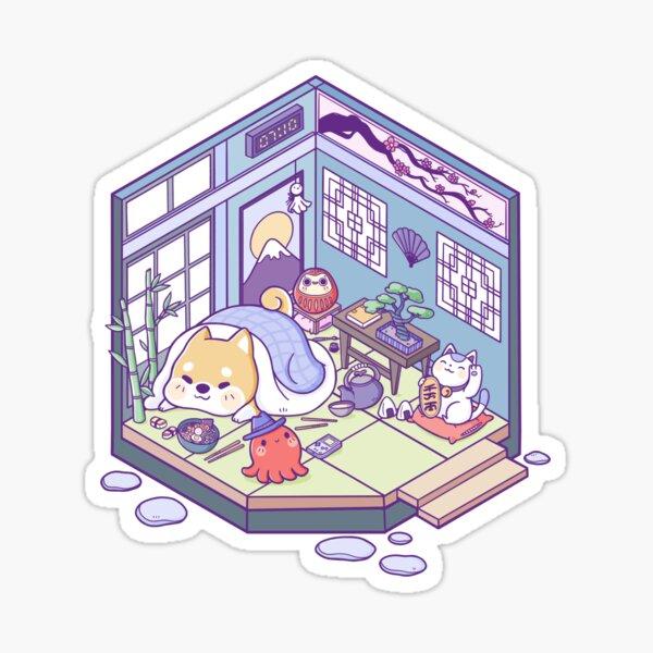 Shiba & Tako Zimmer im japanischen Stil Sticker