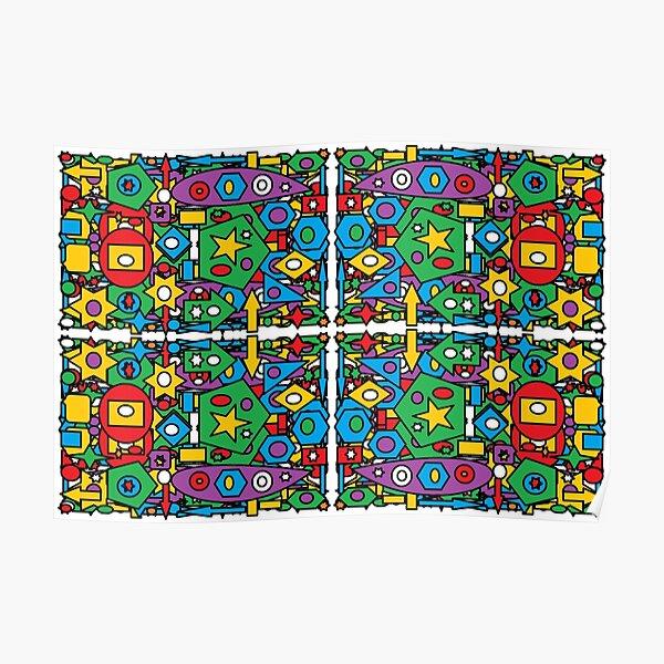 #Pattern #design #art #abstract illustration decoration textile tile shape Poster