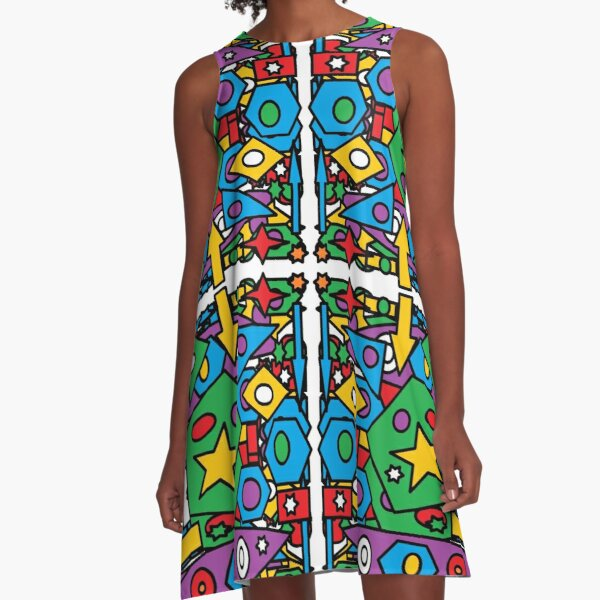 #Pattern #design #art #abstract illustration decoration textile tile shape A-Line Dress