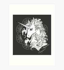 The last unicorn (black) Art Print
