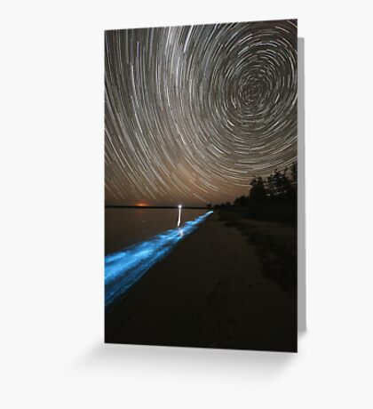 Bioluminescence with Star Trails Greeting Card