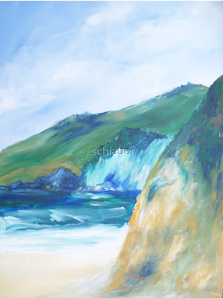 Rocky California Beach painting by schiabor