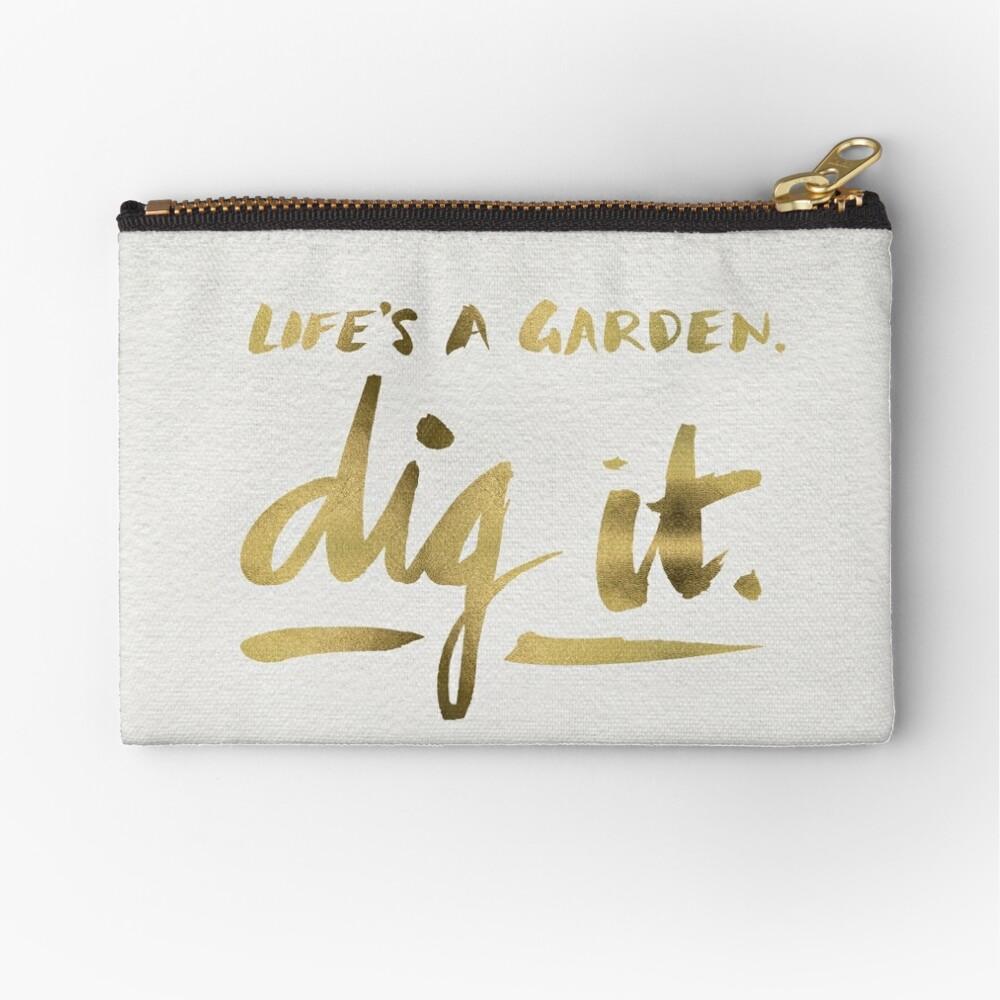 Dig It – Gold Ink Zipper Pouch