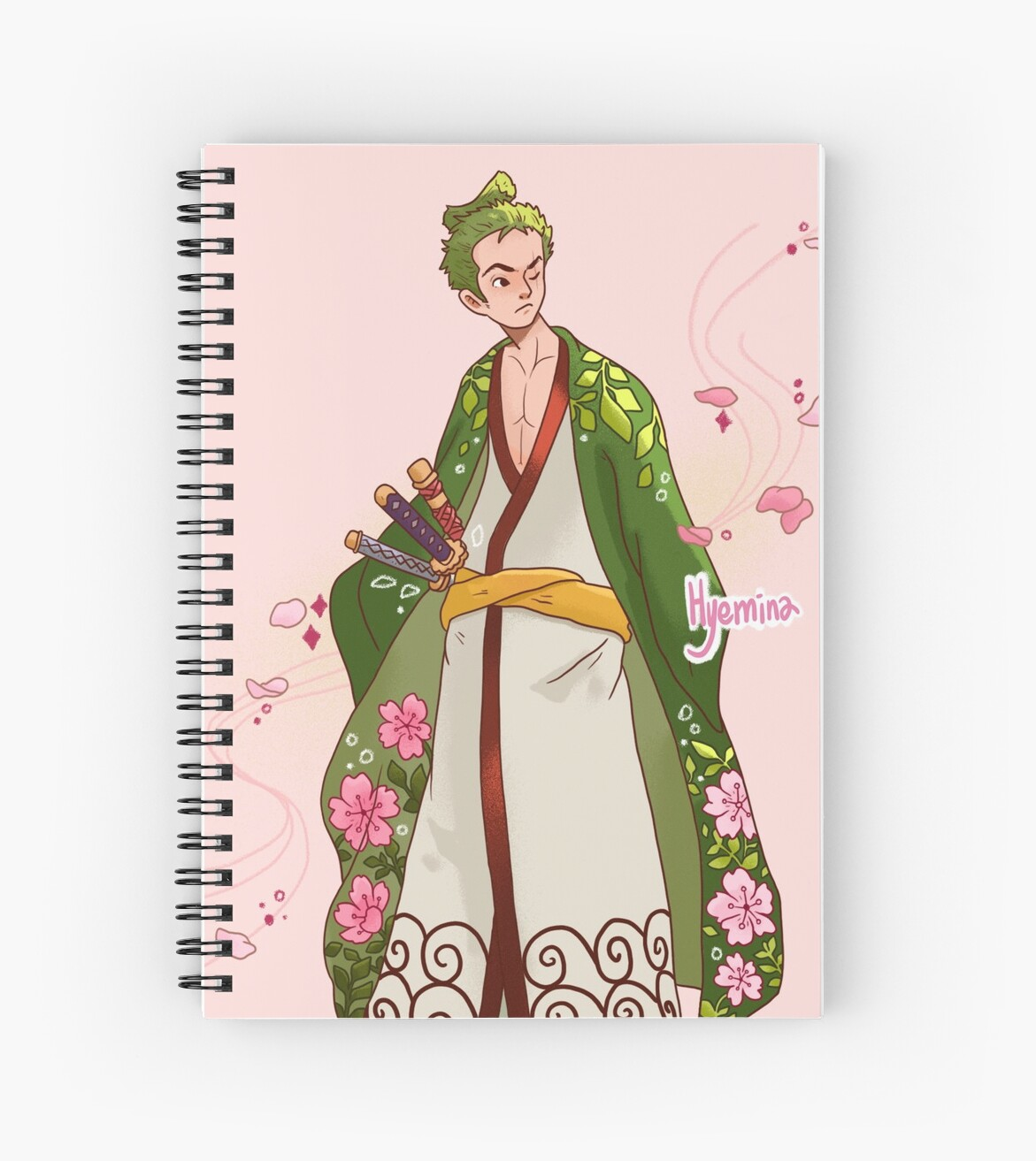 "Manga Samurai Spiral Notebooks By Jiggymiggy: ""Blossom Samurai"" Spiral Notebook By HYEMINA"