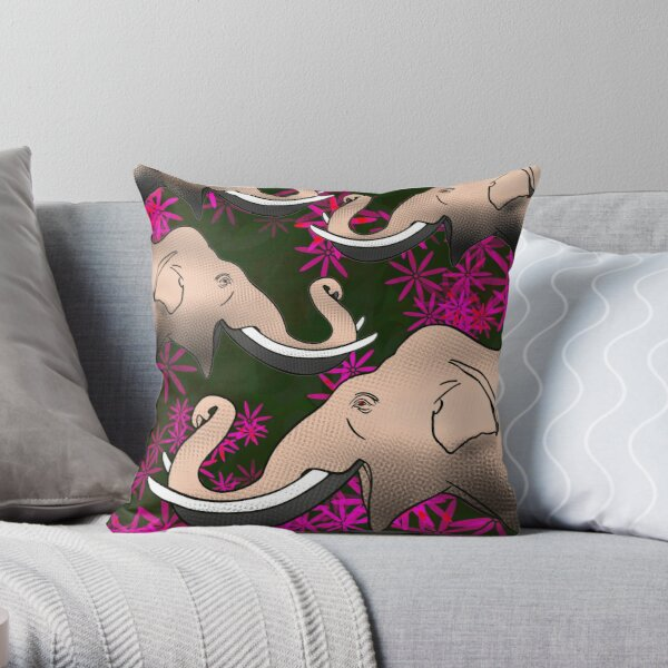 Ecstatic herd in the forest of magic flowers Throw Pillow