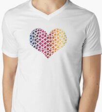 Heart of Hearts Linear Gradient (Clear/White) V-Neck T-Shirt