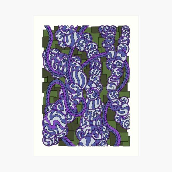 Wandering Abstract Line Art 43: Purple Art Print