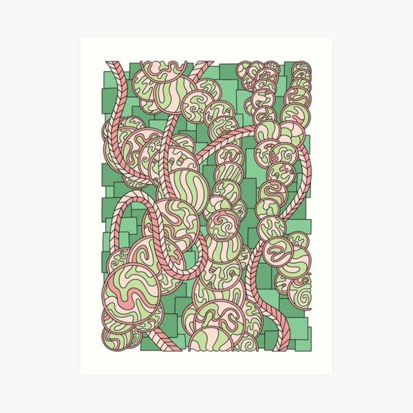 Wandering Abstract Line Art 43: Green Art Print