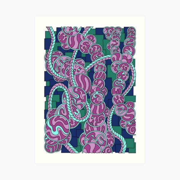 Wandering Abstract Line Art 43: Pink Art Print