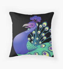 A splendid green and blue Peacock Throw Pillow