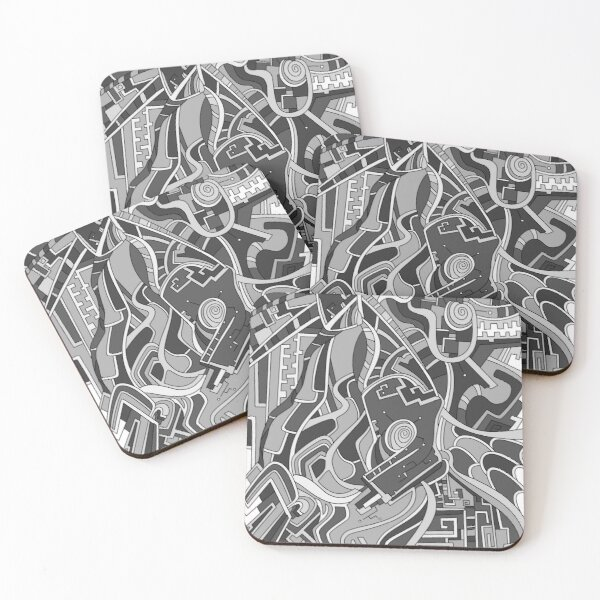 Wandering Abstract Line Art 44: Grayscale Coasters (Set of 4)