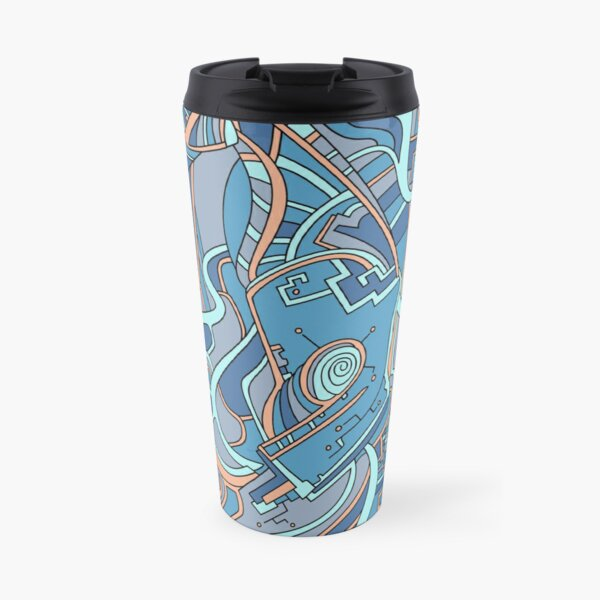 Wandering Abstract Line Art 44: Blue Travel Mug