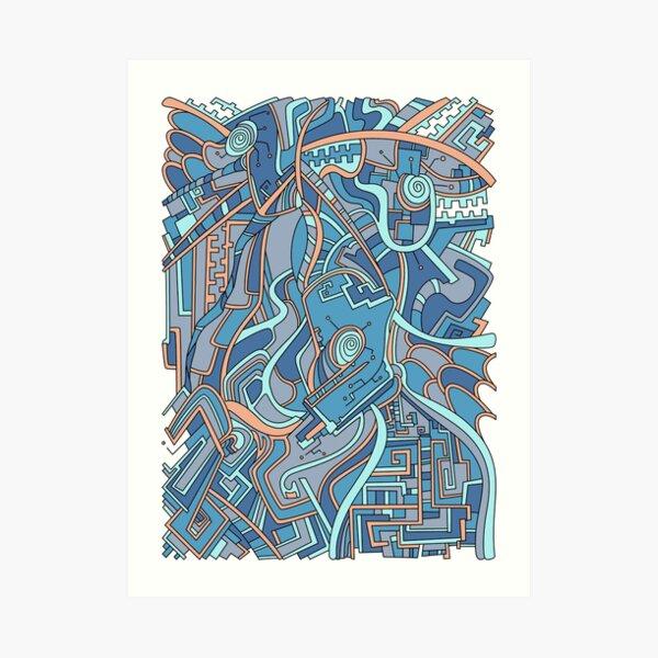 Wandering Abstract Line Art 44: Blue Art Print