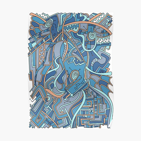 Wandering Abstract Line Art 44: Blue Poster