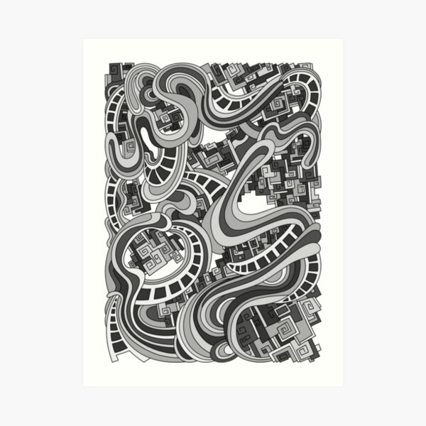 Wandering Abstract Line Art 45: Grayscale Art Print